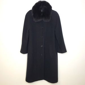 Jones New York Black Coat with Faux Fox Fur Collar